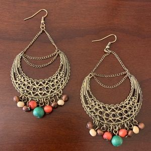 Brass Toned Filigree Beaded Chandelier Earrings